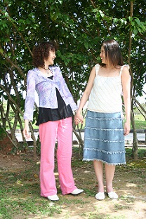 Chinese girls holding hands